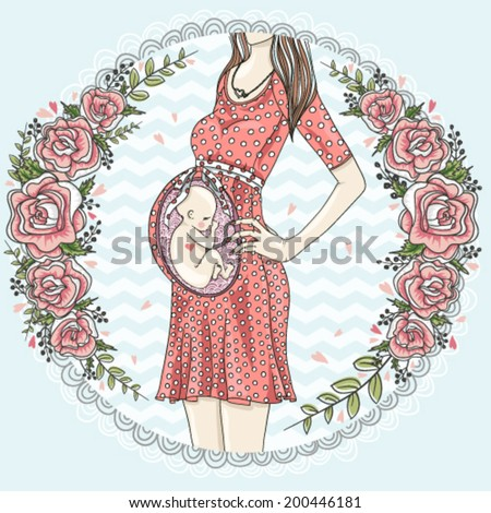 Pregnant woman with cute baby  and flower frame.  - stock vector