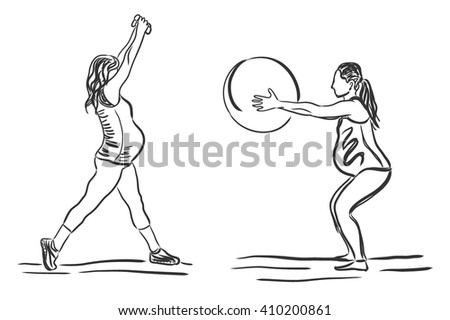 pregnant women involved in fitness exercise, vector illustration, sketch - stock vector