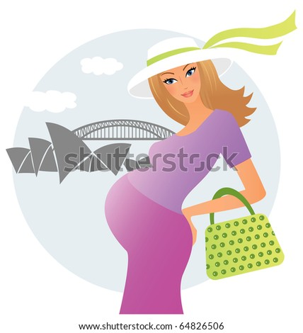 Pregnant young woman in Sydney - stock vector