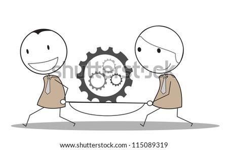 pregress gear businessman teamwork - stock vector