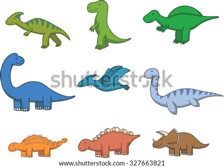 Prehistoric animal doodle cartoon illustration - stock vector