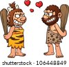 Prehistoric cartoon couple,caveman and cavewoman. Vector illustration with simple gradients. All element in separate layers for easy editing. - stock vector