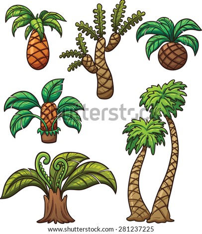 Prehistoric cartoon plants. Vector clip art illustration with simple gradients. Each on a separate layer. - stock vector