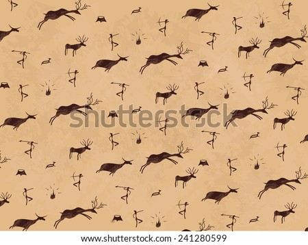 Prehistoric cave painting. Mural. Art. - stock vector