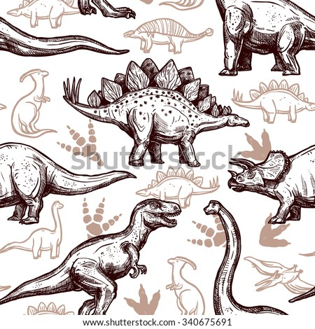 Prehistoric dinosaurs reptiles with footprints on background seamless wrap paper pattern two-color doodle style abstract vector illustration - stock vector