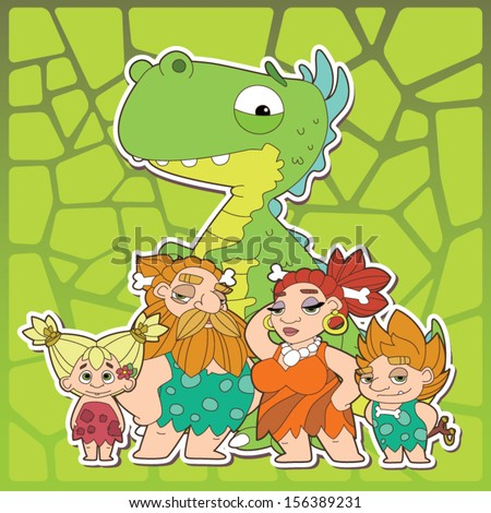 Prehistoric family - Cute ancient people with a friendly dinosaur - The Stone Age - stock vector