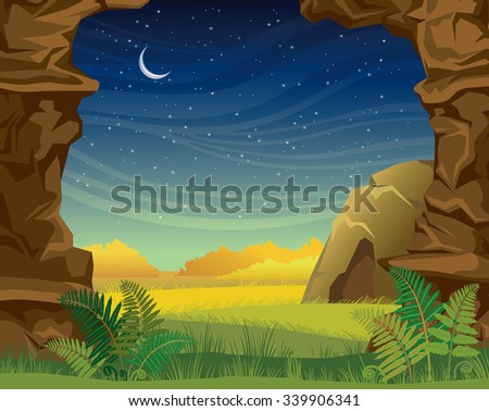 Prehistoric illustration with cave, green grass and walls of rock on a starry sky with moon. Nature night vector landscape. - stock vector