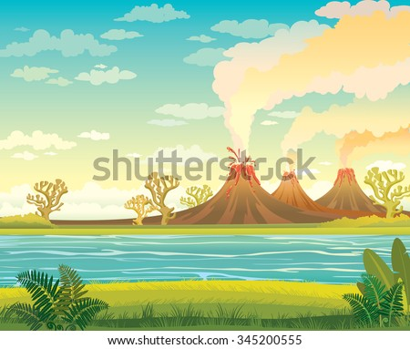 Prehistoric landscape - smoking volcanoes, lake and green grass with fern on a cloudy sky. Vector nature illustration. - stock vector