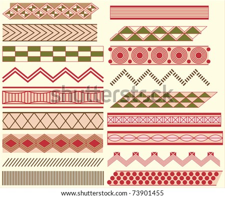 Prehistoric linear ornaments - stock vector
