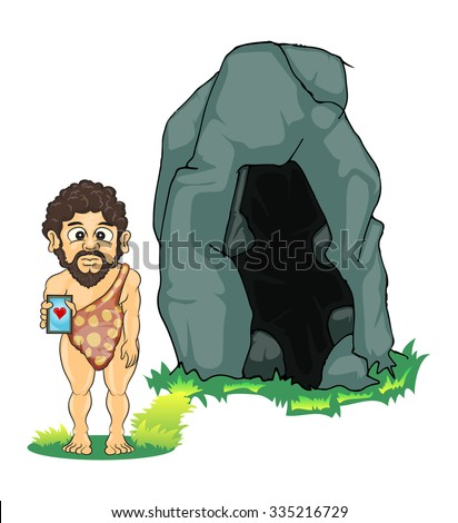 prehistoric man holding hand phone standing in front of stone cave isolated on white - stock vector