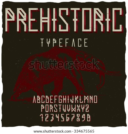Prehistoric runes typeface with hand drawn mastodon on dusty background. Vintage font. Old font. Europe font. Steampunk font. Strong font. Whiskey font. Bourbon font. Wine font. Label font. Typeface. - stock vector