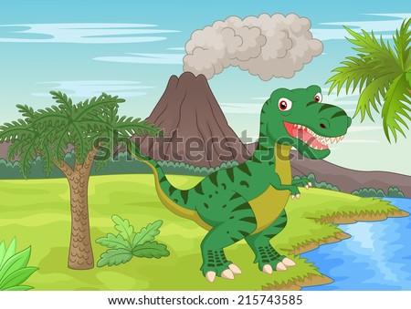 Prehistoric scene with tyrannosaurus cartoon - stock vector