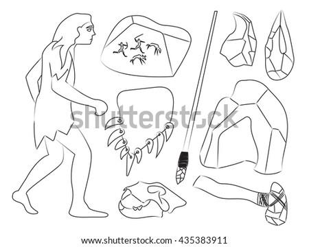 Prehistoric stone age icons set - stock vector
