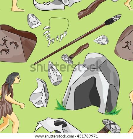 Prehistoric stone age icons set pattern - stock vector