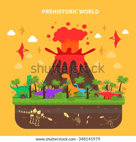 Prehistoric world concept with dinosaurs and volcano eruption vector illustration - stock vector