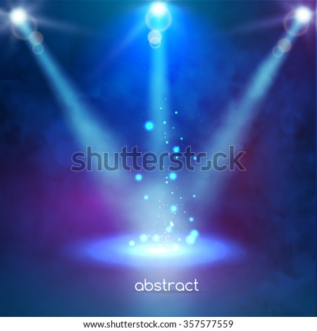 Premiere Blue Show background sparkles. Smoky stage shining with rays spotlight on particles - stock vector