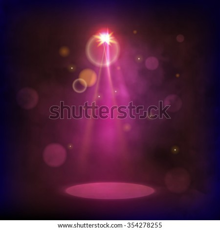 Premiere Red Show background sparkles. Smoky vector stage shining with rays spotlight  - stock vector