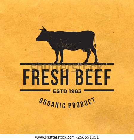 premium beef label with grunge texture on old paper background - stock vector