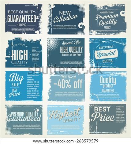 Premium, best choice, grunge banner collection - stock vector