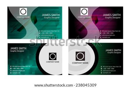 Premium Business Card Design Vector Set: horizontal, abstract wavy background - stock vector