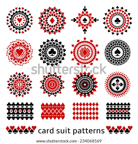 Premium card suit patterns in one set. Casino gambling illustrations for decor or background. - stock vector