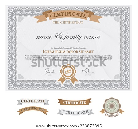 premium certificate template with additional and ribbon design elements. - stock vector