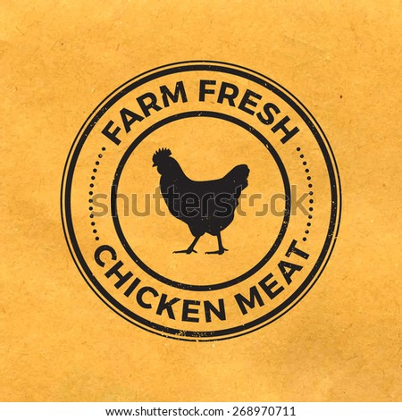 premium chicken meat label with grunge texture on old paper background - stock vector