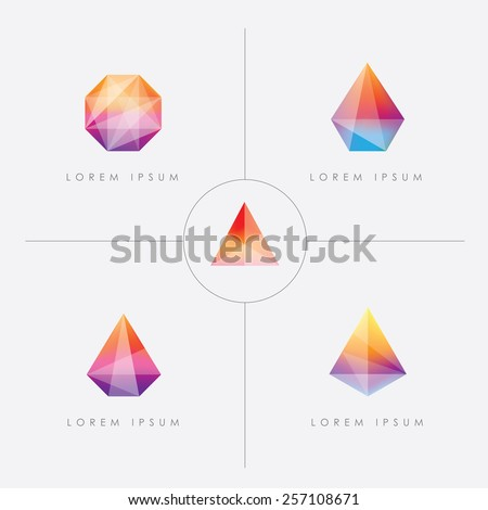 premium collection of bright multicolored geometric polygon facet crystal gem logo icons - stock vector