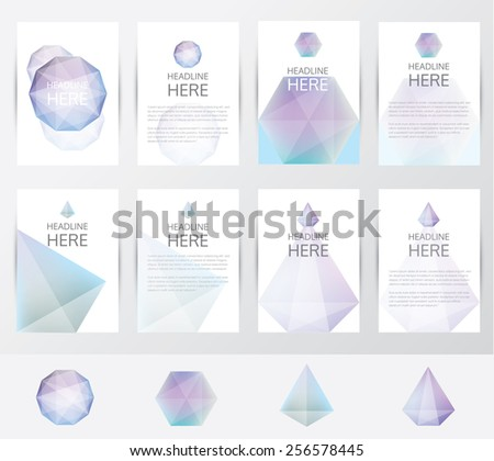 premium collection of brochure covers and letterhead template mockups in trendy soft blur polygon pattern-soft geometric facet crystal gem logos included- for visual identity - stock vector