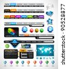 Premium Collection of modern style web headers, forms, icons, world map, glossy design elements and buttons - stock vector