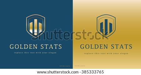 premium corporate statistics vector logo design - stock vector