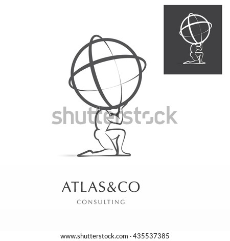 PREMIUM CORPORATE VECTOR LOGO / ICON DESIGN , ATLAS HOLDING THE WORLD