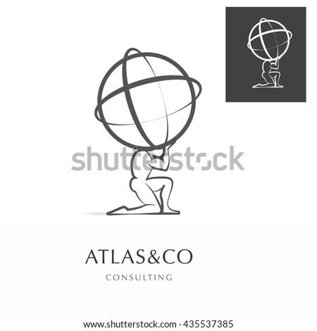 PREMIUM CORPORATE VECTOR LOGO / ICON DESIGN , ATLAS HOLDING THE WORLD  - stock vector