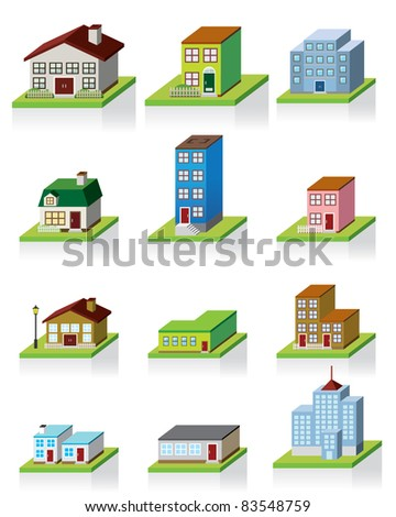 premium 3D houses - stock vector