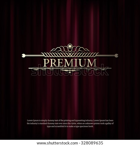 Premium Dark red curtain scene gracefully. Cover with vertical motion blur and premium text. Like curtains in theater. Elegance vector backdrop with vintage sign - stock vector