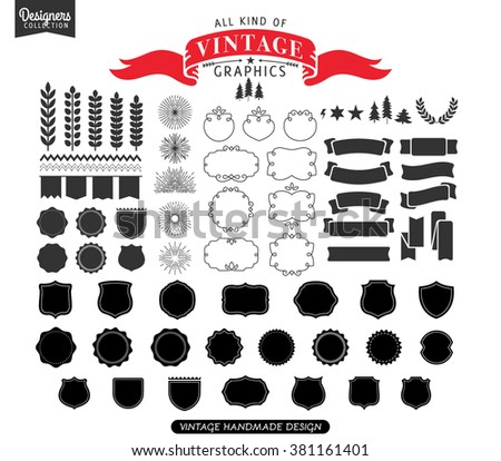 Premium design elements. Great for retro vintage logos. Starbursts, frames and ribbons Designers Collection - stock vector