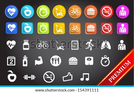 Premium Fitness Icons. - stock vector