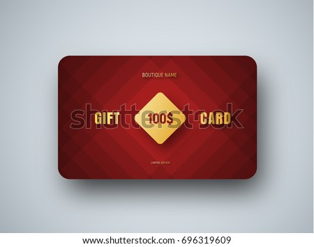 Gift card design stock images royalty free images vectors premium gift card template with a golden square and text on a red abstract background negle Gallery