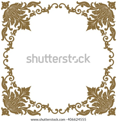 Premium Gold vintage baroque frame scroll corner ornament engraving border floral retro pattern antique style acanthus foliage swirl decorative design element filigree calligraphy - stock vector