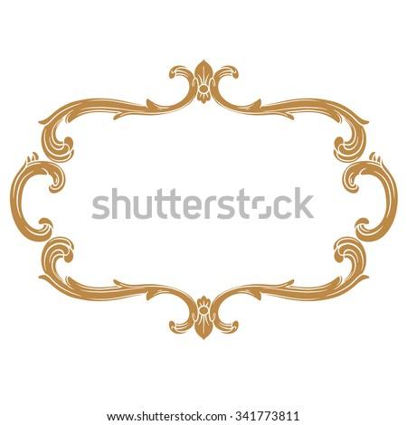 Premium Gold Vintage Baroque Frame Scroll Ornament Engraving Border Floral Retro Pattern Antique Style Acanthus Foliage
