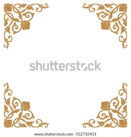 Premium Gold vintage baroque frame scroll ornament engraving border floral retro pattern antique style acanthus foliage swirl decorative design element filigree calligraphy - stock vector