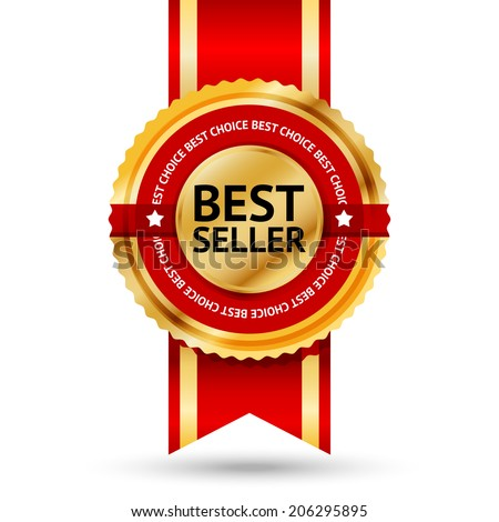"Premium golden and red Best Seller label with ""Best choice"" text around it. Isolated on white background. Vector - stock vector"