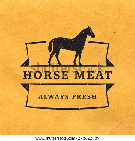 premium horse meat with grunge texture on old paper background - stock vector