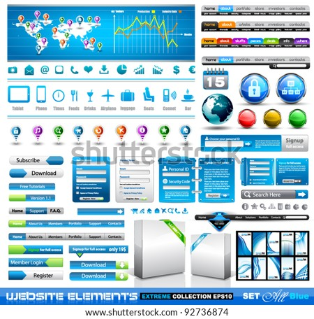 Premium infographics and Web stuff  master collection: graphs, histograms, arrows, chart, 3D globe, icons and a lot of related design elements. - stock vector