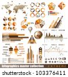 Premium infographics master collection: graphs, histograms, arrows, chart, 3D globe, icons and a lot of related design elements. - stock vector