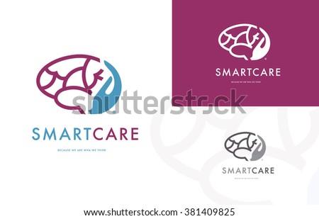 Premium logo design of a hand holding a brain - stock vector