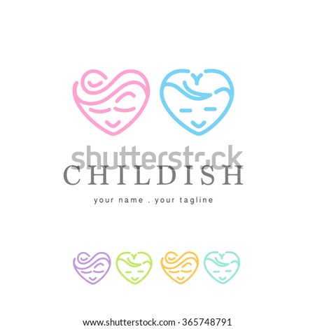 PREMIUM MODERN LOGO DESIGN OF A HEART SHAPED BOY AND GIRL - stock vector