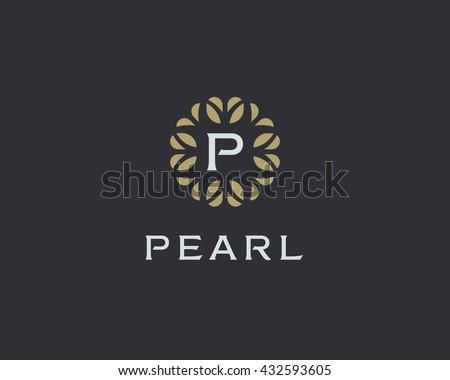 Premium monogram letter P initials logo. Universal symbol icon vector design. Luxury abc leaf logotype. - stock vector