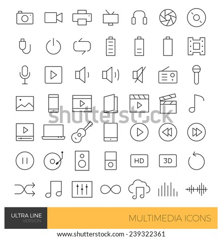 Premium Multimedia Ultra thin Line icons - stock vector