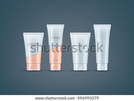 Premium photo-realistic layered vector mock-up set of cream tubes ready for to showcase your design. Vector file can be scaled to any size you want.